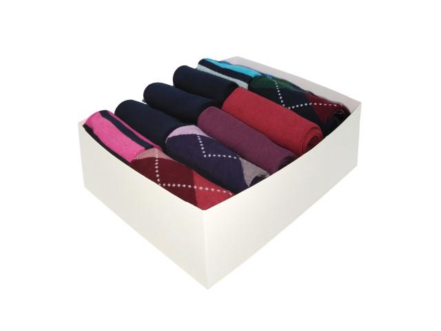 Cutie cadou, set 10 perechi,art.221-Șosete vesele cu romburi si dungi pentru femei