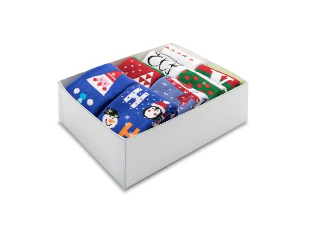 Cutie cadou Craciun, set 8 perechi, sosete copii bumbac şi elastan, marime: 35-38 - model 360