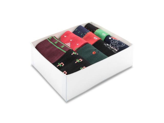 Cutie cadou Craciun, set 8 perechi, sosete pentru barbati din bumbac şi elastan, marime: 39-43 - model 426