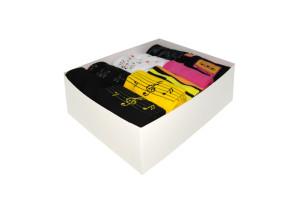 Cutie cadou, set 10 perechi, Șosete vesele cu note muzicale pentru femei si ''I love Paris''- model 221